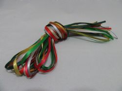 10 x 1 metre lengths assorted satin ribbon,  3mm  Christmas Colours